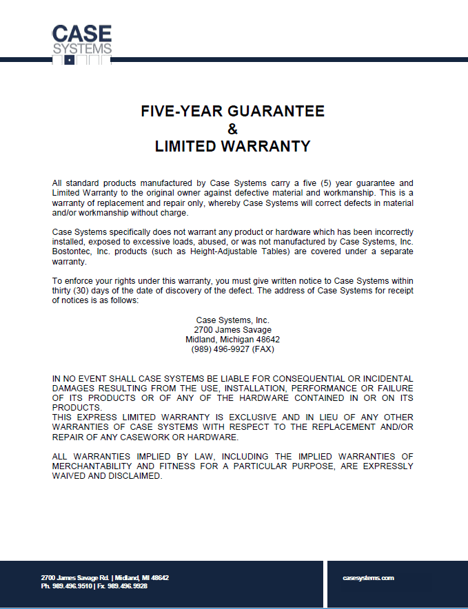 Case Systems Limited Warranty and Five-Year Guarantee