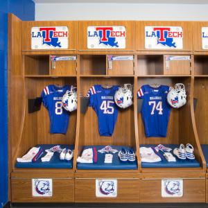 Athletic football locker room, casework
