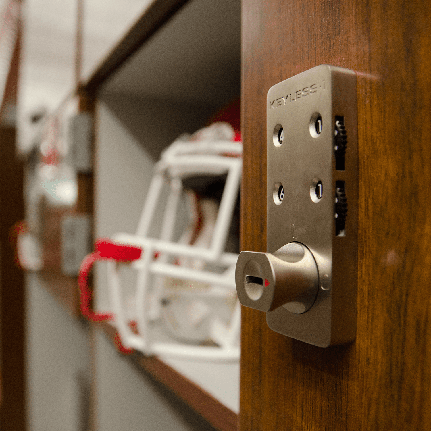 Athletic Football locker lock detail