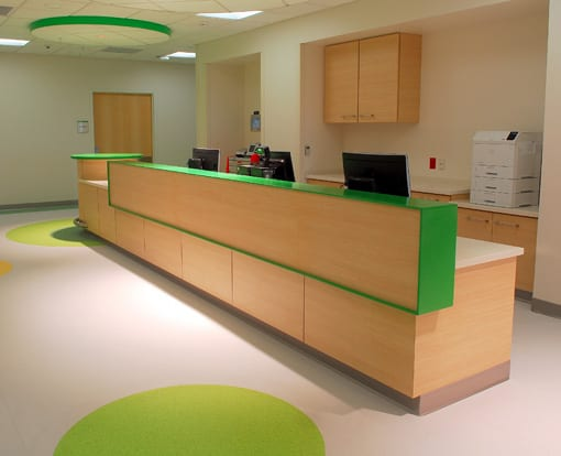 Clean green healthcare casework image for healthcare casework page