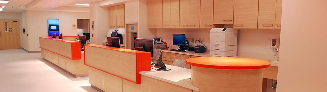 Clean orange healthcare casework image for healthcare casework page
