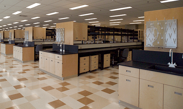 rows of lab casework for higher ed casework page