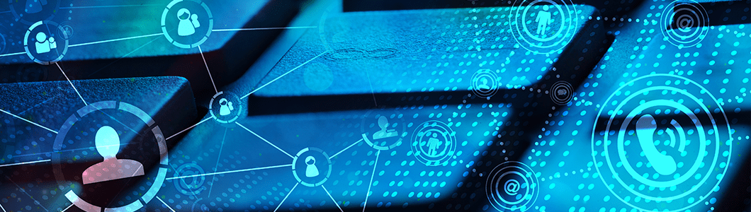 blue connected icons image for the news section