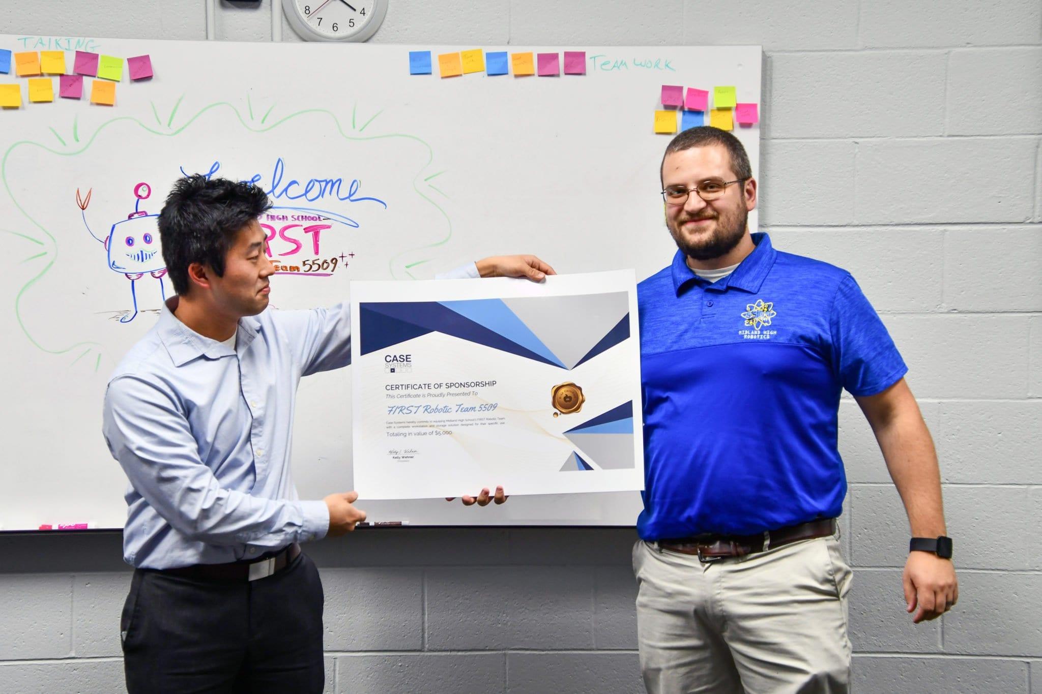Case Systems sponsors Midland High School Robotics team