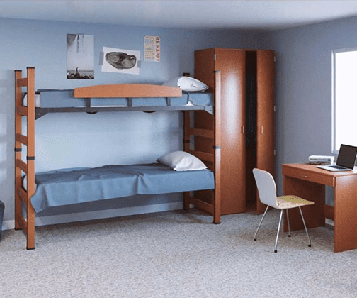 image of blue room with blue bunk beds