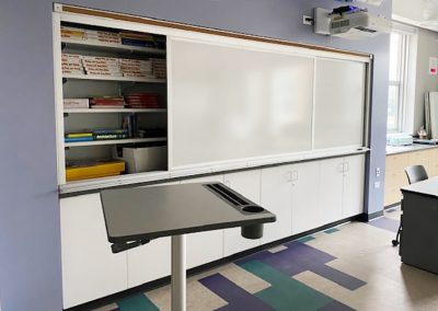 learning wall with shelves