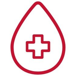 Blood Donation image (drop with centered Greek cross)