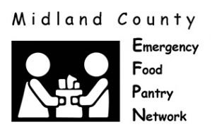 Midland County Emergency Food Pantry Network logo (Icon of two people holding a paper bag full of groceries